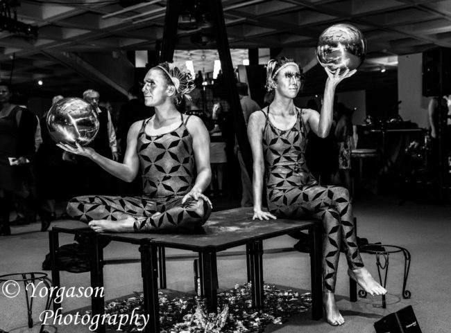 Katie | Kaci | Metallic | Futuristic | Silver | Living Statue Duo | Imagine Circus | Cirque | Raleigh, NC