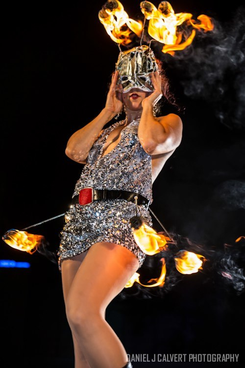 Liz | Metallic | Fire Performer | Fire Mask | Fire Belt | Imagine Circus | Cirque | Raleigh, NC