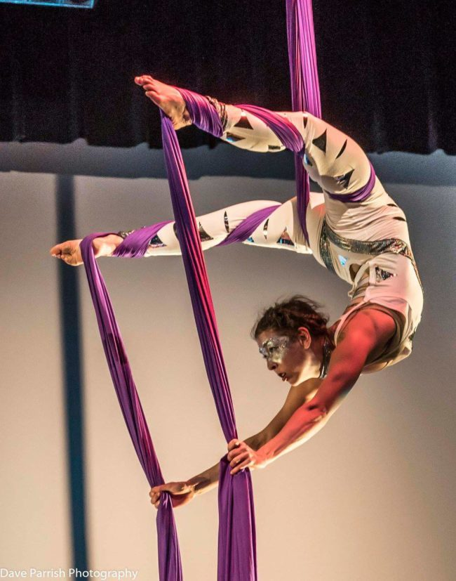 Liz | White Costume | Aerial Silks | Silk Performer | Aerial Fabric | Imagine Circus | Cirque | Raleigh, NC