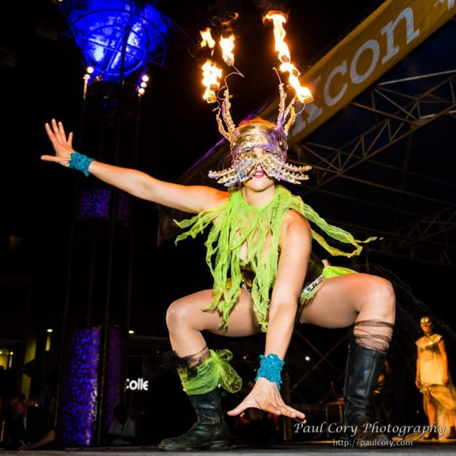 Liz | Jungle Creature | Fire Performer | Fire Mask | Imagine Circus | Cirque | Raleigh, NC