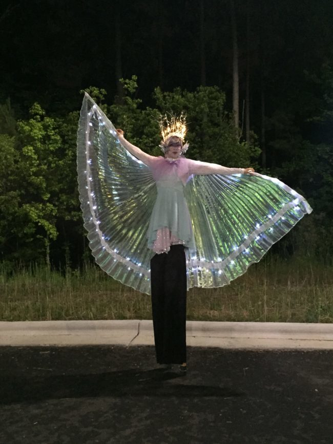 Winged Dancer | LED Performance | LED Wings |LED Isis Wings | Performer | Imagine Circus | Cirque | Raleigh, NC