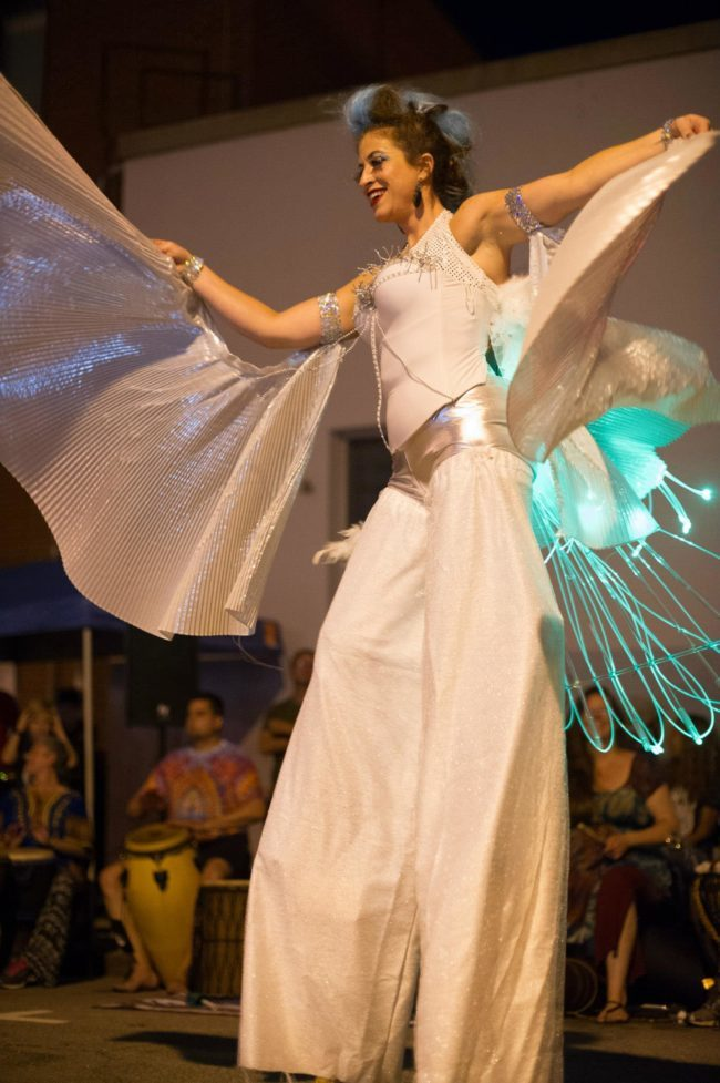 Robin | LED Performance | Winged Dancer | Stilt Walker | White Wings | Performer | Imagine Circus | Cirque | Raleigh, NC