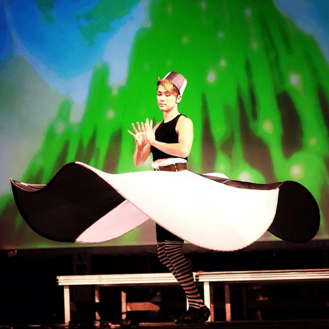 Mindy | Spinning Skirt | Black and White | Costume | Performer | Imagine Circus | Cirque | Raleigh, NC