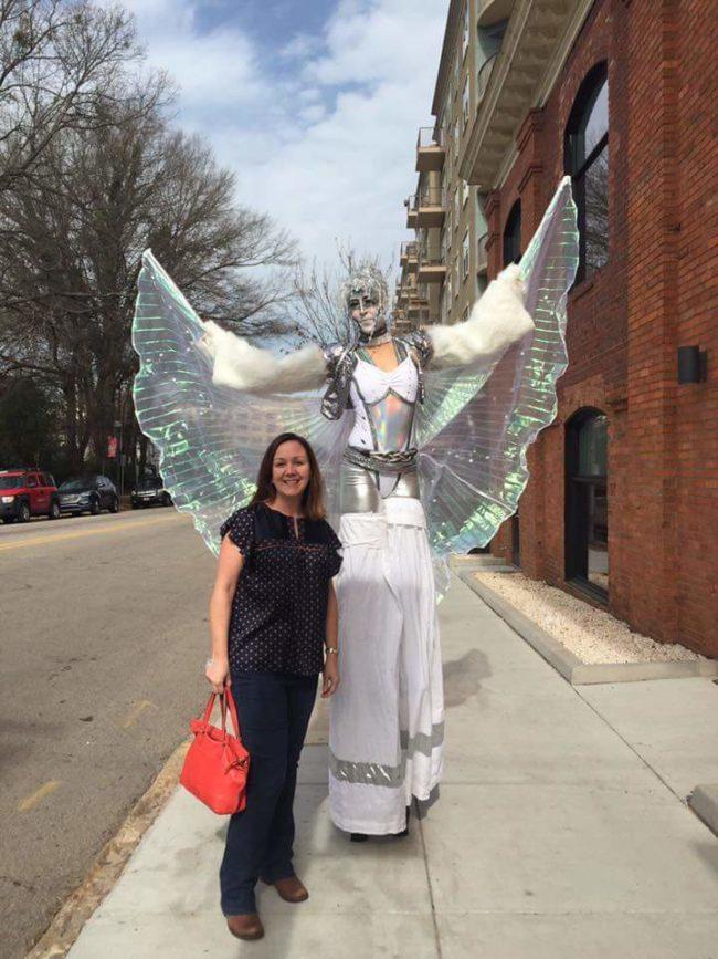 Liz Bliss | Stilt Walker | Fantasy | Butterfly | White | Winged Dancer | Performer | Performance | Imagine Circus | Cirque | Raleigh, NC