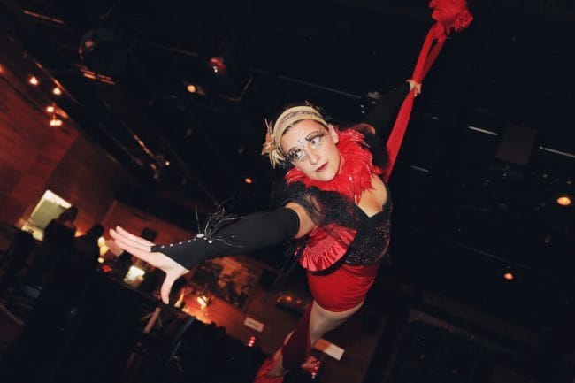 Vintage Circus Aerialist | Aerial Silks Performer | Katie | Wig Out Event | Imagine Circus