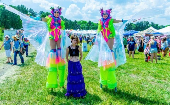 Neon Stilt Fairies | Liz Bliss & Katie | Imagine Circus Performers at Hippie Fest | Charlotte, NC
