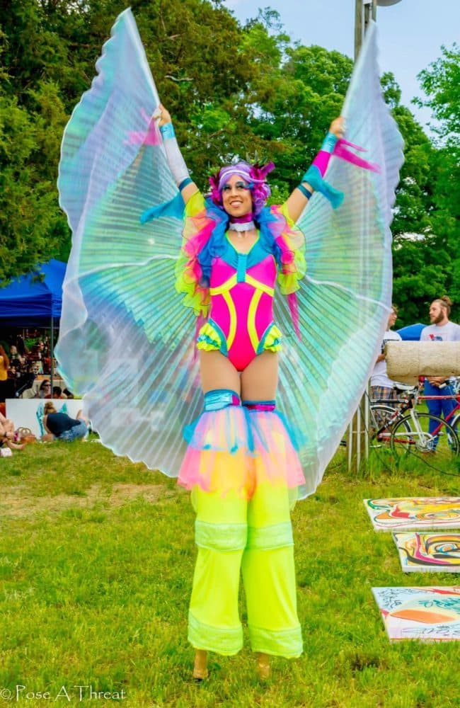 Neon Stilt Fairy | Liz Bliss | Imagine Circus Performers at Hippie Fest | Charlotte, NC