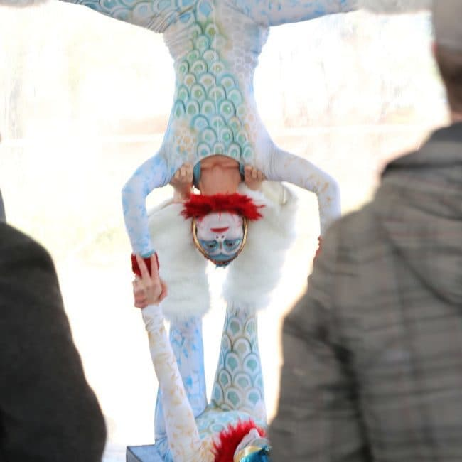 Modern Cirque Acro Duo | Katie & Kaci Performing at Durham ID Groundbreaking Ceremony | Imagine Circus