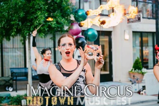 Fire Dancer, Fire Mask, Street Festival, North Hills, Katie, Imagine Circus