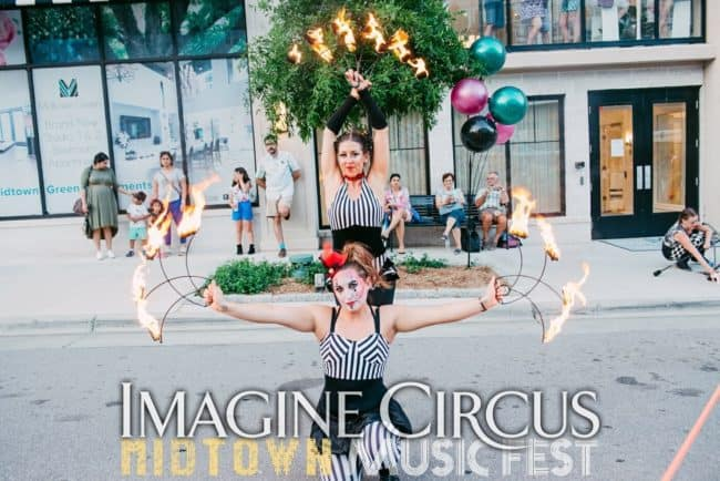 Fire Dancers, Fire Fans, Street Festival, North Hills, Irene, Liz, Imagine Circus