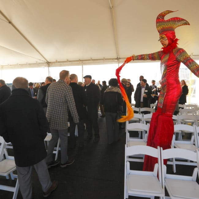 Modern Cirque Stilt Walker | Liz Bliss Performing at Durham ID Groundbreaking Ceremony | Imagine Circus