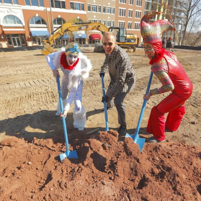 Imagine Circus Performers at the Groundbreaking Ceremony for the Durham Innovation District | Katie & Liz