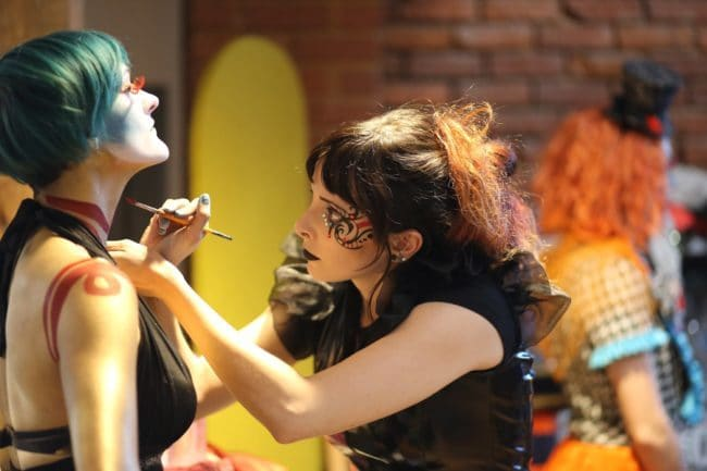 Modern Cirque Face & Body Paint by Molly Chopin   Model is Azul Ezekial   Imagine Circus   Raleigh, NC
