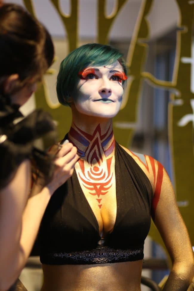 Modern Cirque Face & Body Paint by Molly Chopin | Model is Azul Ezekial | Imagine Circus | Raleigh, NC