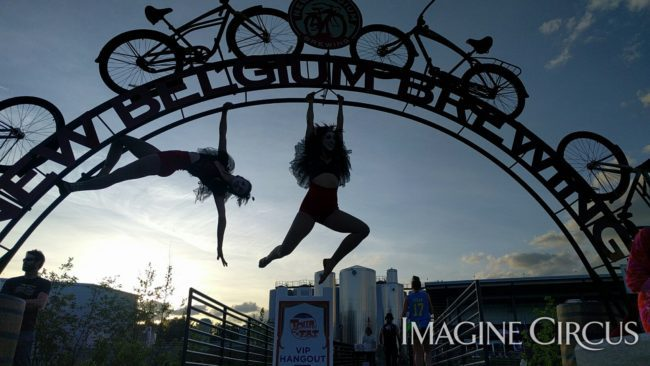 Acrobats at Tour de Fat Asheville | Kaci & Liz Bliss | Imagine Circus Performers | Raleigh, NC