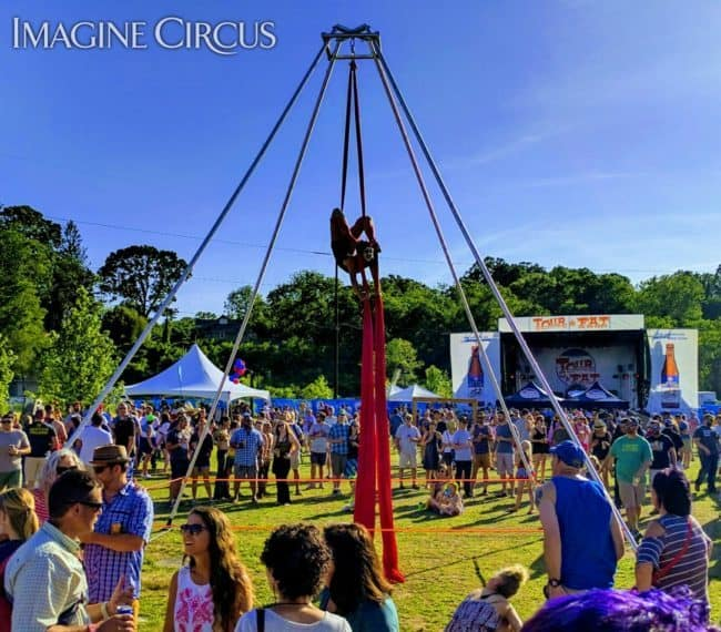 Aerial Silks Dancer | Tour de Fat Asheville Aerialist | Liz Bliss | Imagine Circus Performer