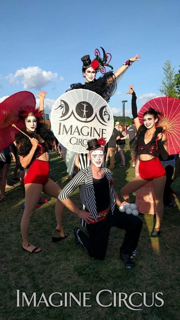 Stilt Walker, Juggler & Acrobats | Tour de Fat Asheville Performers | Kaci, Adam, Mindy & Liz Bliss | Imagine Circus