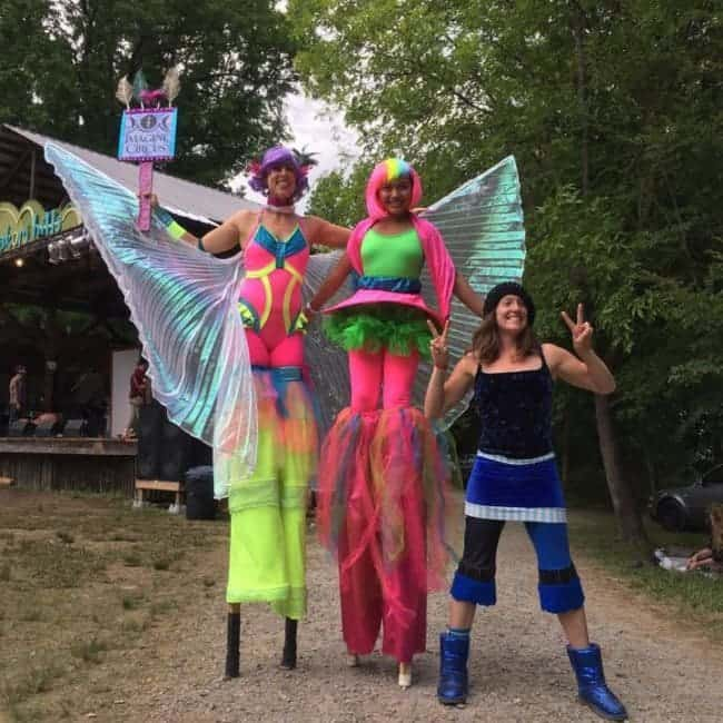 Stilt Walkers at Shakori Hills Festival | Liz Bliss & Mari | Imagine Circus | Pittsboro, NC