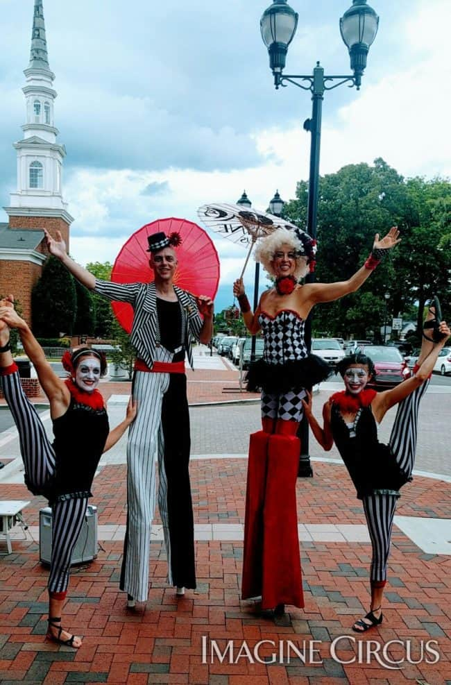 Acrobats, Stilt Walkers, Cary, NC, Performers, Katie, Adam, Liz, Kaci, Imagine Circus