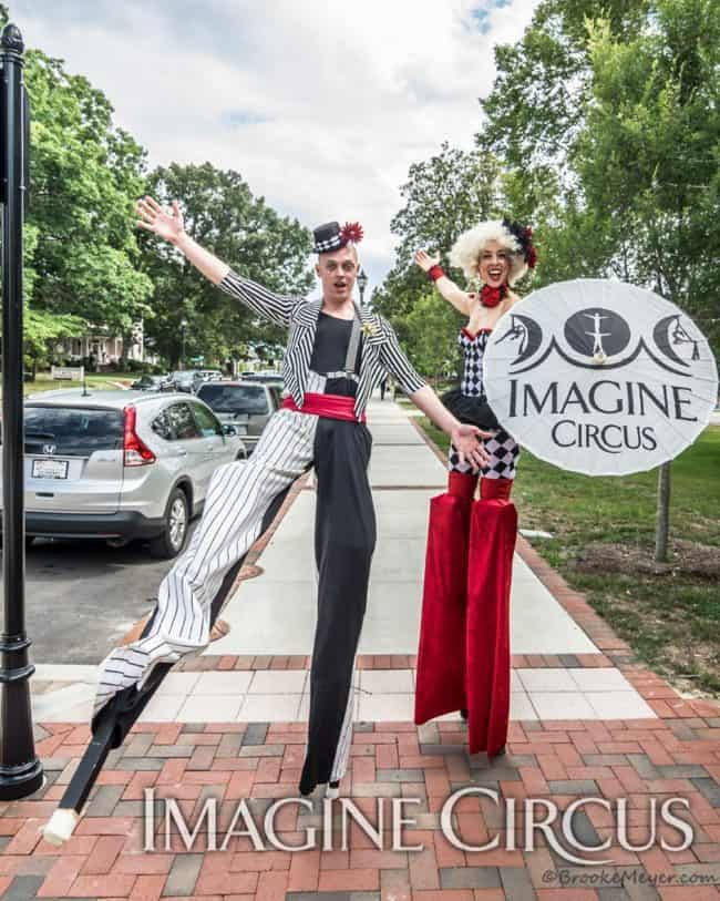 Stilt Walkers, Street Festivals, Performers, Adam, Liz, Cary, NC, Imagine Circus, Photo by Brooke Meyers