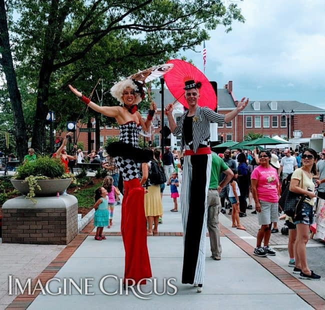 Stilt Walkers, Street Festival, Cary, NC, Performers, Liz & Adam, Imagine Circus