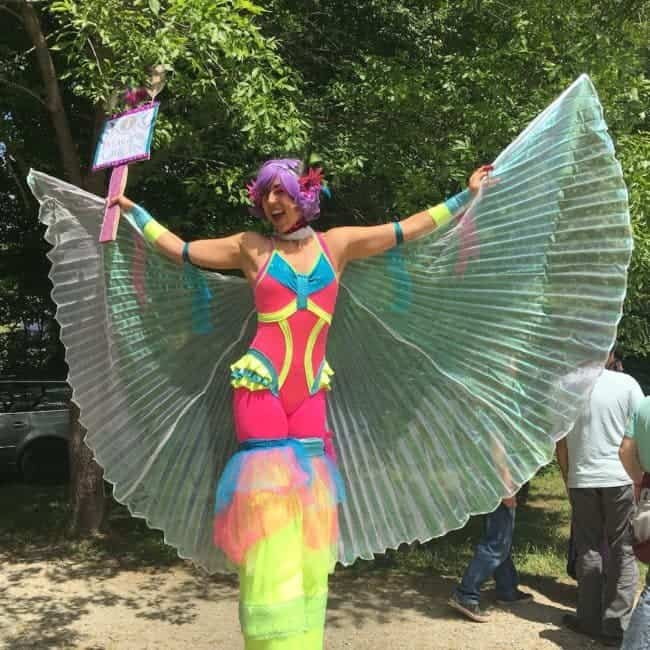 Winged Stilt Walker at Shakori Hills Festival | Liz Bliss | Imagine Circus | Pittsboro, NC