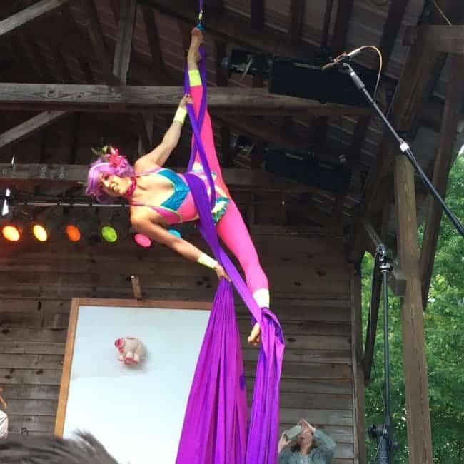 Aerialist Performing on Stage at Shakori Hills Festival | Liz Bliss | Imagine Circus | Pittsboro, NC
