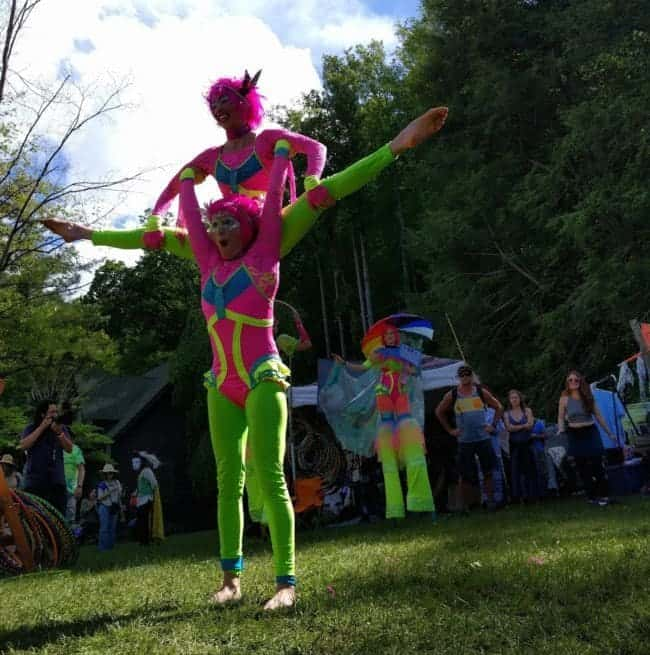 Acrobat Duo performing at Lake Eden Arts Festival | Kaci & Katie | Imagine Circus Performers