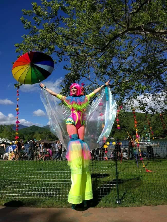Stilt Walker at Lake Eden Arts Festival | Mindy | Imagine Circus Performers
