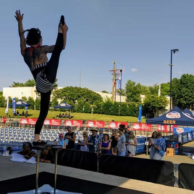 Acrobat, Hand Balancing & Contortion performance at Tour de Fat in Charlotte, NC   Brittany   Imagine Circus