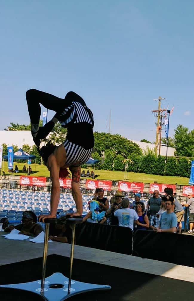 Acrobat, Hand Balancing & Contortion performance at Tour de Fat in Charlotte, NC | Brittany | Imagine Circus
