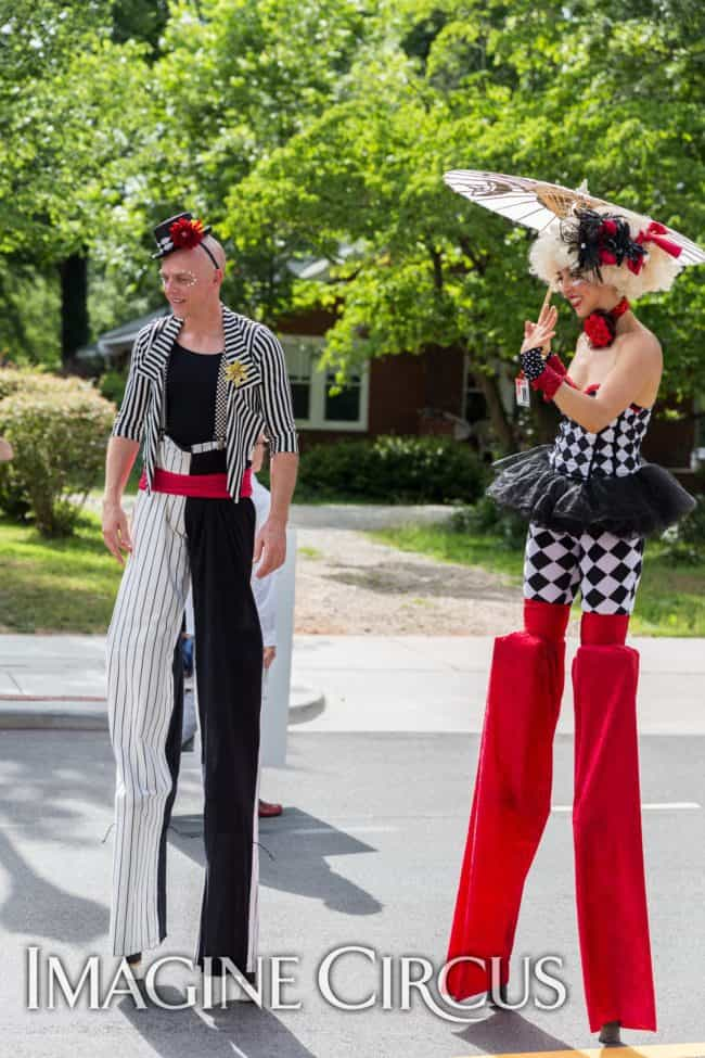 Stilt Walkers, Street Festivals, Performers, Adam, Liz, Cary, NC, Imagine Circus, Photo by Mark Thomas