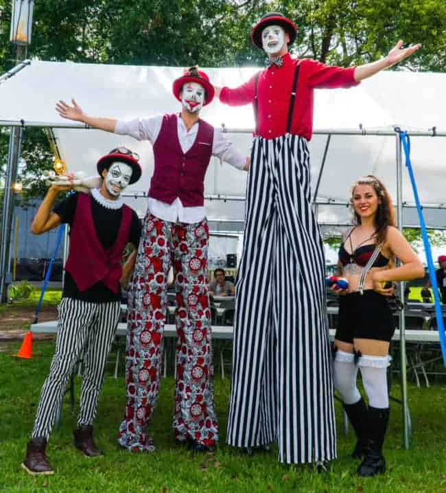 Stilt Walkers at New Belgium Brewery's Tour de Fat Music Festival | Imagine Circus Performers | Mikhel, Brad, Fred, & Grace | Orlando, FL