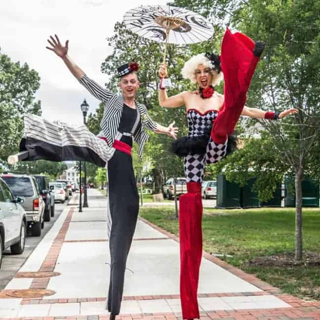 Stilt Walkers Adam & Liz at Downtown Cary Celebration | Photo by Brooke Meyers | Imagine Circus