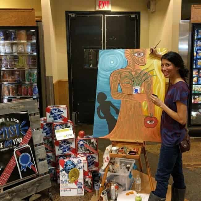 PBR Art Live Painting Events | Kaci at Whole Foods in Chapel Hill, NC | Imagine Circus
