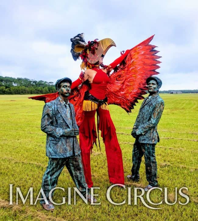 Robin, Phoenix Stilt Walker, Ben & Gio, Wright Brothers, Living Statues, Imagine Circus, Aviation Day
