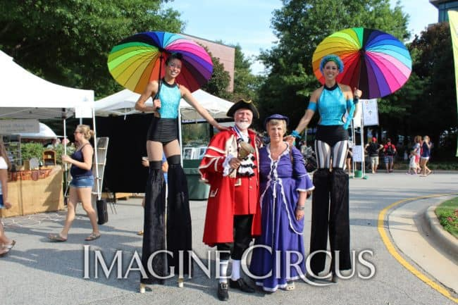 Kaci & Liz, Stilt Walkers, Lazy Jerry, Imagine Circus, Photo by Darrell Stover