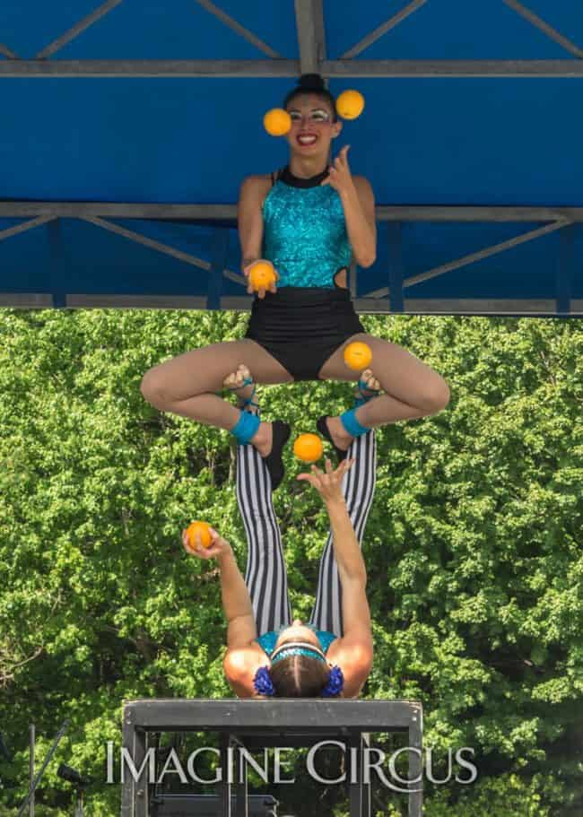 Katie & Kaci, Acro Duo, Juggling, Imagine Circus, Photo by Brooke Meyer
