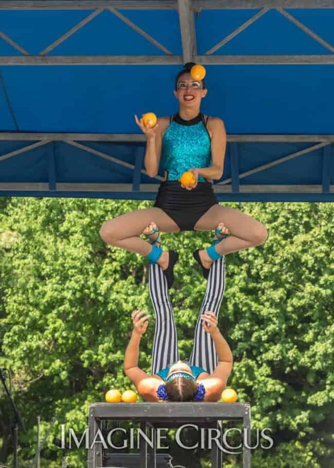 Katie & Kaci, Acro Duo, Acro Juggling, Imagine Circus, Photo by Brooke Meyer