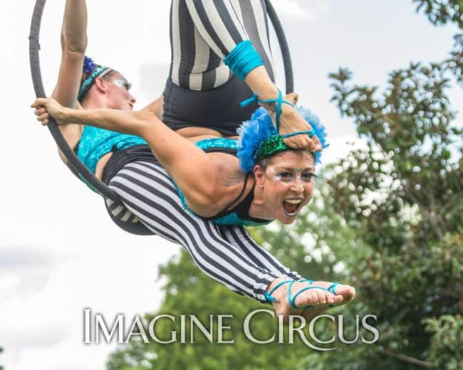 Liz, Katie, Aerial Duo, Partner Lyra, Imagine Circus, Photo by Brooke Meyer