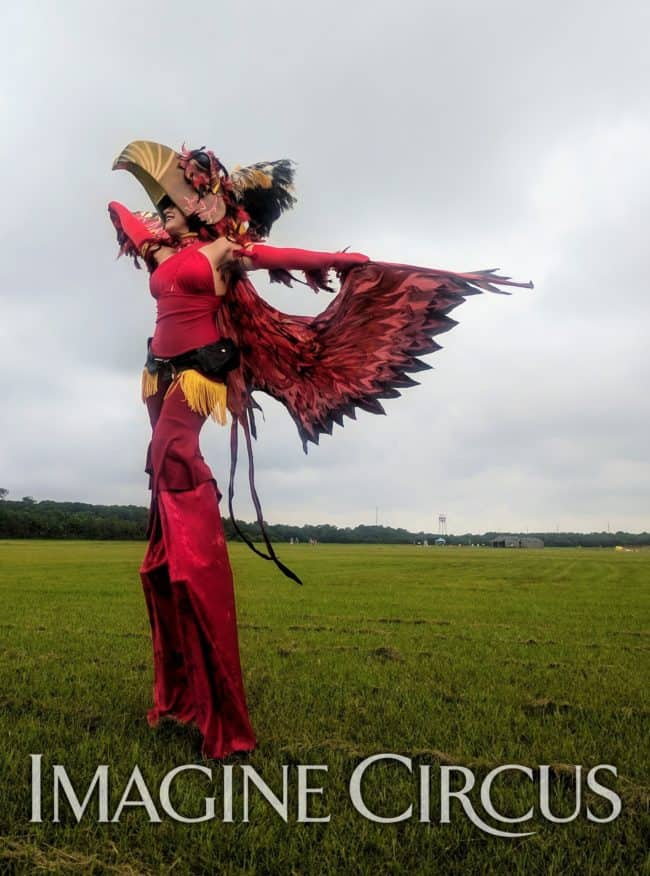Robin, Phoenix Stilt Walker, Imagine Circus, Aviation Day