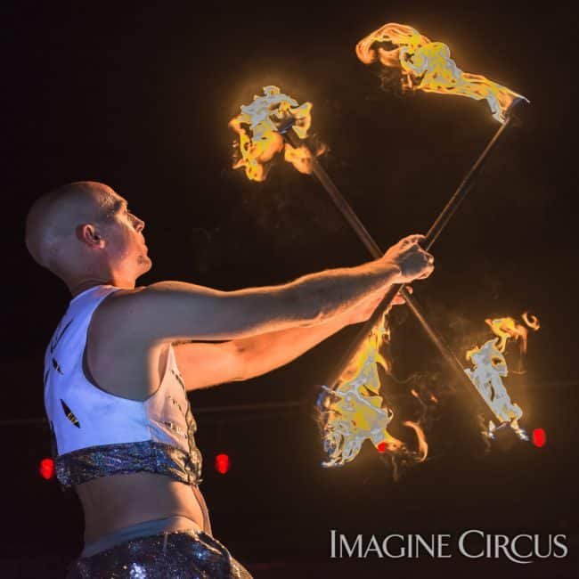 Adam, Double Fire Staff, Imagine Circus, Mulino, Photo by Slater Mapp