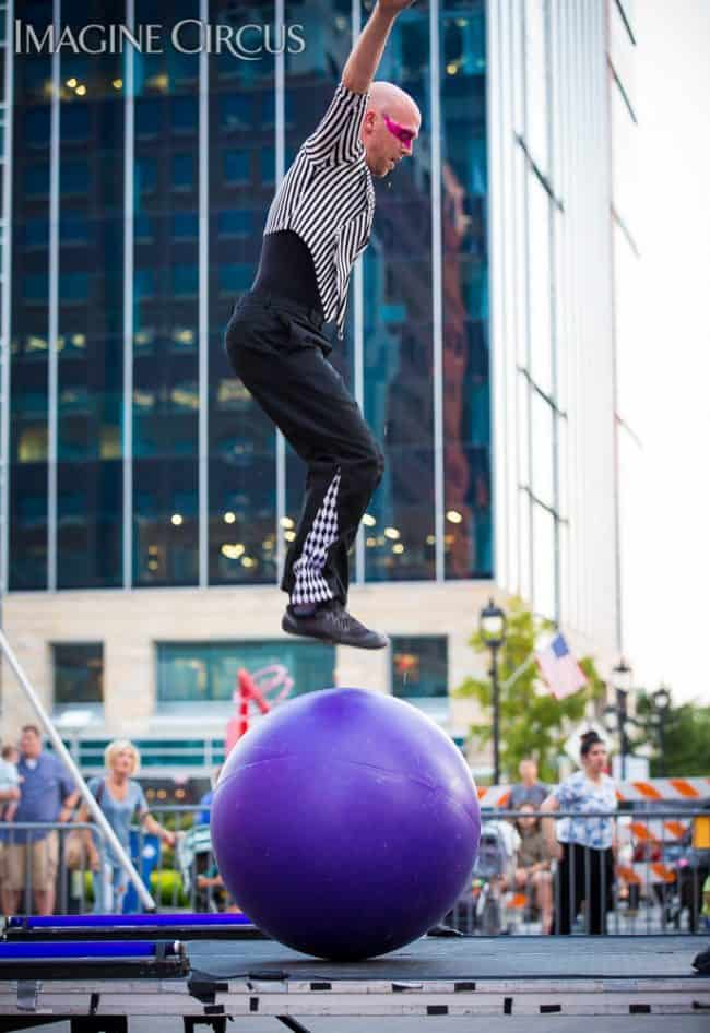 Adam, Rolling Globe, Neon Glow, Stilt Walkers, SPARKcon, Imagine Circus, Photo by Willa Stein