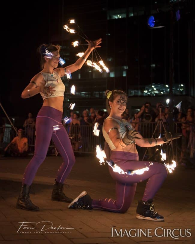 Alex & Robin, Fire Fans Duo, SPARKcon, Imagine Circus, Photo by Fon Denton, Image That Photography