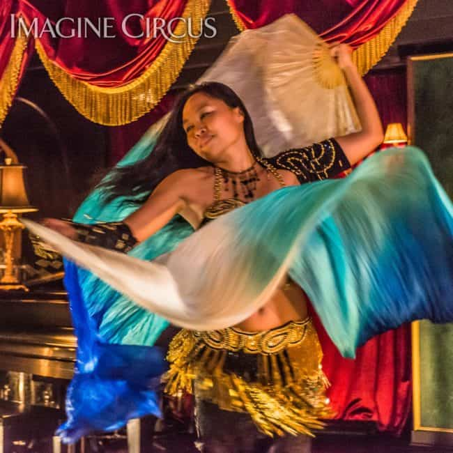 Asyia, Belly Dancer, Silk Fans, C Grace, Imagine Circus, Photo by Slater Mapp