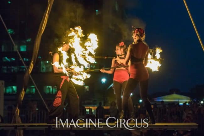 Elements Show, Fire, Alex, Natali, & Gio, Group Dragon Staff, SPARKcon, Imagine Circus, Photo by Brooke Meyer