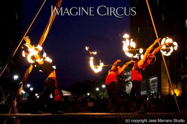Elements Show, Fire, Alex, Natali, & Gio, Group Dragon Staff, SPARKcon, Imagine Circus, Photo by Jess Marrano Studio
