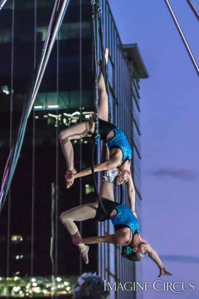 Elements Show, Water, Katie & Liz, Partner Lyra, Aerial Hoop Duo, SPARKcon, Imagine Circus, Photo by Brooke Meyer
