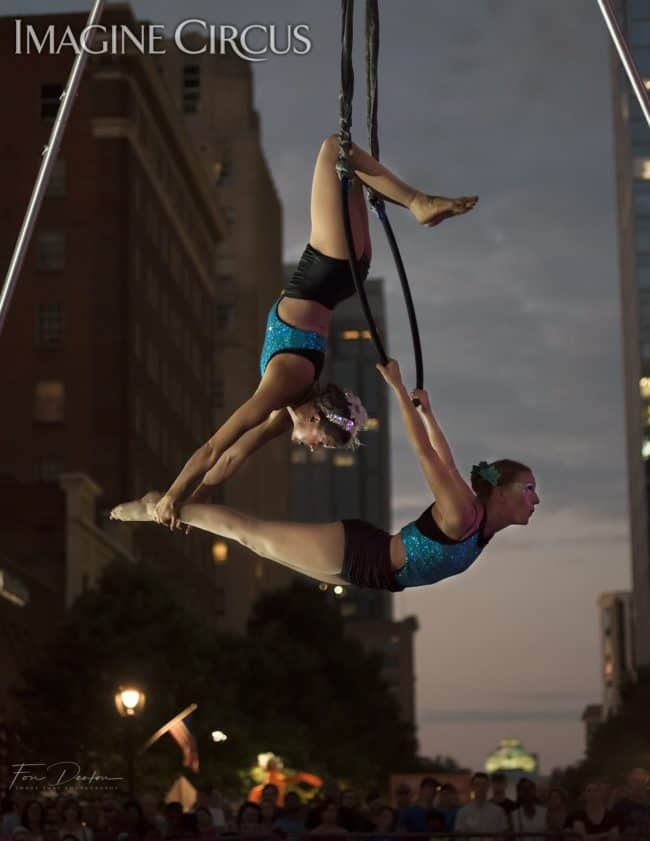 Elements Show, Water, Katie & Liz, Partner Lyra, Aerial Hoop Duo, SPARKcon, Imagine Circus, Photo by Fon Denton, Image That Photography