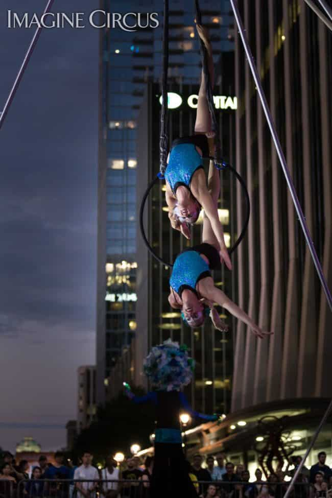 Elements Show, Water, Katie & Liz, Partner Lyra, Aerial Hoop Duo, SPARKcon, Imagine Circus, Photo by Mark Thomas